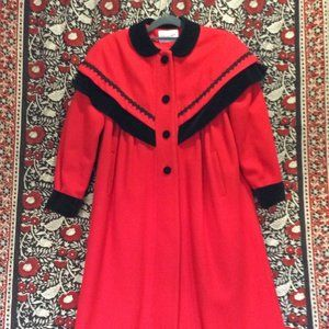 1980s Red Wool Swing Coat with Black Velvet & Lace